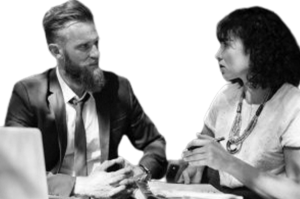 Pair in a business discussion outside